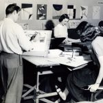 Commercial art class taught by Professor Richard Brough, 1950s.
