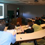 Dr. Nancarrow introduces grad student Pat Causey at the 2010 art history symposium.