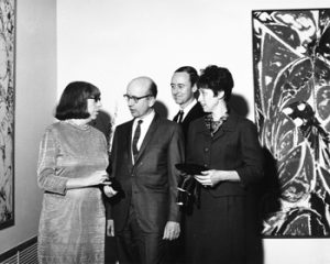 Lee Krasner, Ted Klitzke, John Burnum and Celeste Burnum at the opening reception for Krasner's solo exhibition in Garland Hall in 1967.
