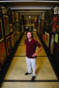 Kevin Jones visits the archives of the Jones Collection at Mary Harmon Bryant Hall. Artworks not on public display at the Paul R. Jones Gallery are carefully kept in storage here.