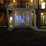 Video sculpture by Greg Randall installed on Woods Quad.