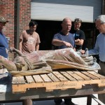 Dr. Mellown discusses the renovation of a 19th century statue.