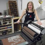 Amy Pirkle in her studio printing