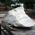 This chunk of Sylacauga marble is waiting for Caleb O'Connor to carve it into a bust of Bryce Hospital founder, Dr. Peter Bryce.