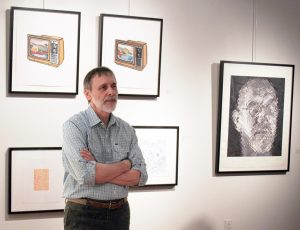 Bill Hall in a gallery talk at the Cultural Arts Center's UA Gallery. Photo courtesy UA College of Arts and Sciences.