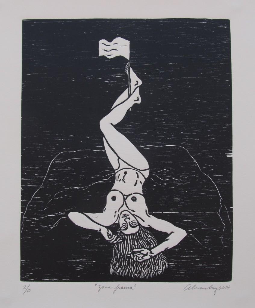 """Aliosky García Sosa, """"Zona franca,"""" 2014, xilografía (woodcut)."""