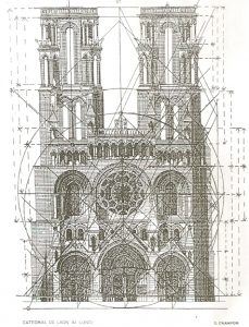 Illustration of Notre-Dame of Laon cathedral with superimposed regulator lines show that the cathedral has golden proportions.