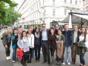 UA students in Vienna, May, 2016, with the Dean of the College of Education at UA