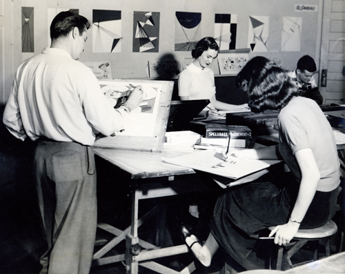 old photo of people in an art class