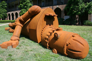 "Joe McCreary, ""Goldie 1971,"" 2009, iron and steel; approx. 23 ft., in the Woods Quad Sculpture Garden, 2009."