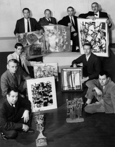Faculty exhibitors with their work, March 1960.