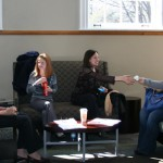 students gathered in lounge area