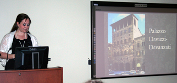 "Mary K. Benefield (UA), presenting ""Making Connections: The Chastelaine de Vergi fresco cycle in the Palazzo Davanzati"" at the 17th Annual Graduate Student Symposium in Art History"