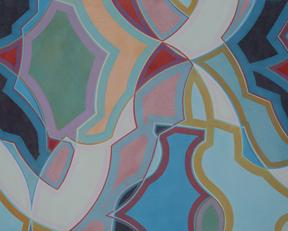 "Uta Krapf, ViaI II, acrylic and permanent watercolor on muslin, 24 x 30"""