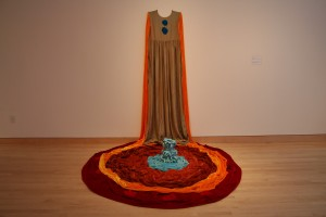 "Beverly Semmes, ""Olga,"" silk velvet, rayon velvet, taffeta, ceramic, 2007, 7 feet x 6 feet a 10 inches x 7 feet, Courtesy of the artist and Galerie Bugdahn und Kaimer, Dusseldorf, Germany."