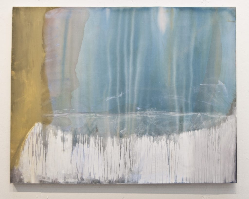 """Anne Herbert, """"The Place Where Things Fall Apart,"""" 2013, acrylic on muslin, 51"""" X 65"""""""