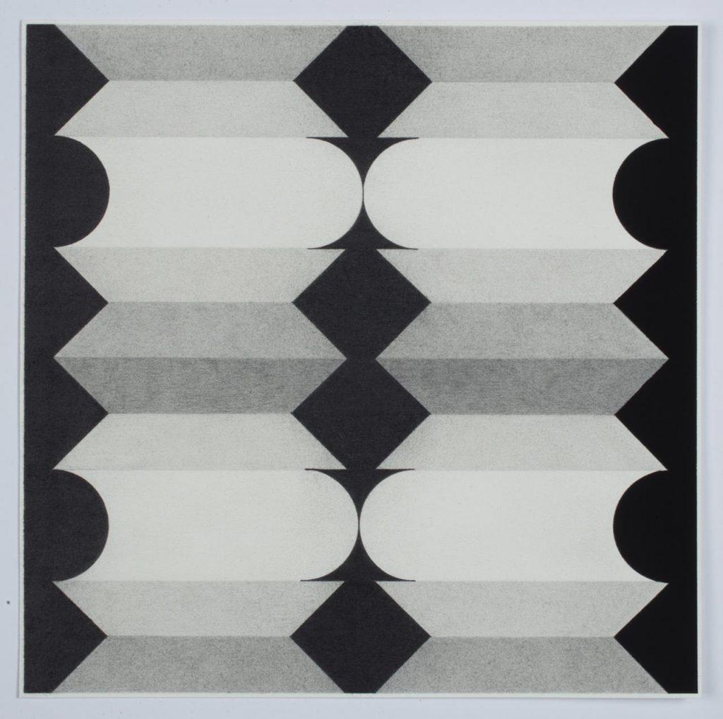 Pete Schulte, No Title, 2018, 12 X 12 inches, graphite, gouache, on paper.