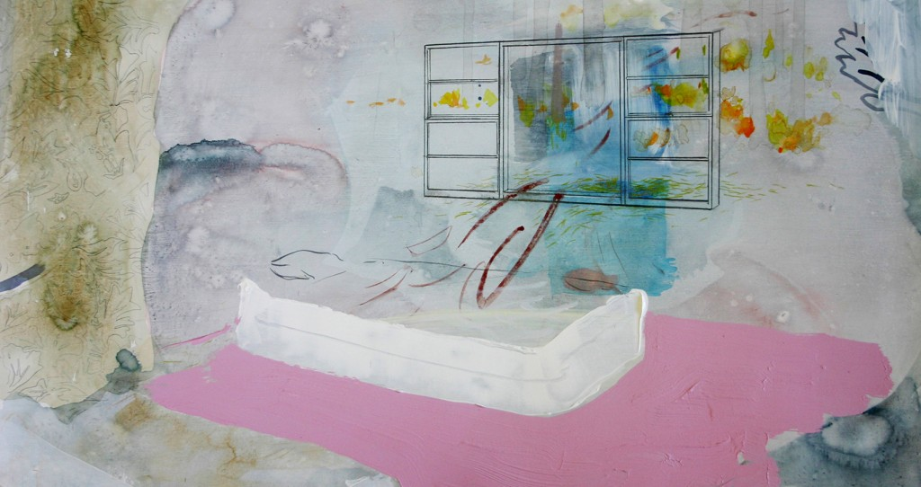 """Bryce Speed, """"Pink Bedroom,"""" 22 x 30 inches, watercolor, gouache, and ink on paper."""