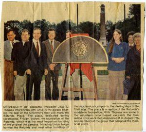 The Rotunda Plaza in The Tuscaloosa News, fall 1984