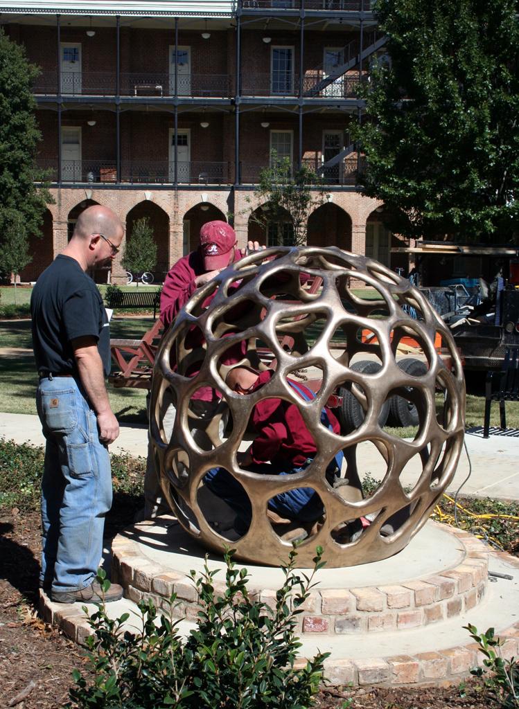 """""""Montgomery Marker"""" by Craig Wedderspoon, in the Woods Quad Sculpture Garden, UA campus"""