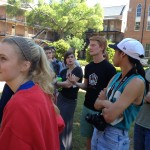 Drawing class congregates on Woods Quad