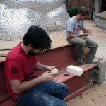 Patrick O'Sullivan and Mike Eddins carving cuttlefish molds for the aluminum pour.
