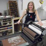 Instructor Amy Pirkle in her studio printing