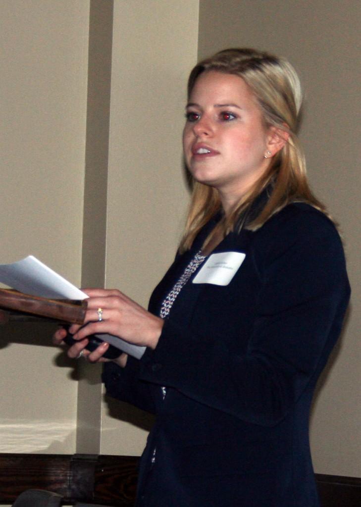 a woman delivering a presentation