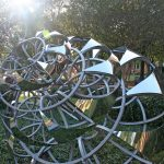 "Lindsay Jones Lindsey, ""Fibonacci Spiral"" installed in the Woods Quad Sculpture Garden, 2014."