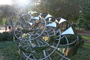 a spiral-shaped metal artwork