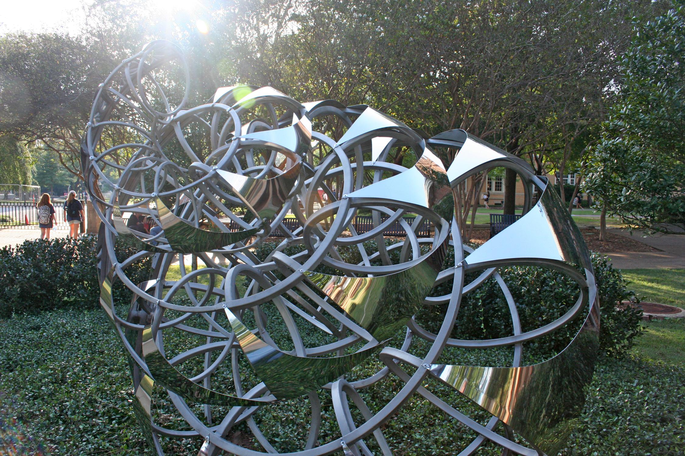 """Lindsay Jones Lindsey, """"Fibonacci Spiral"""" installed in the Woods Quad Sculpture Garden, 2014."""