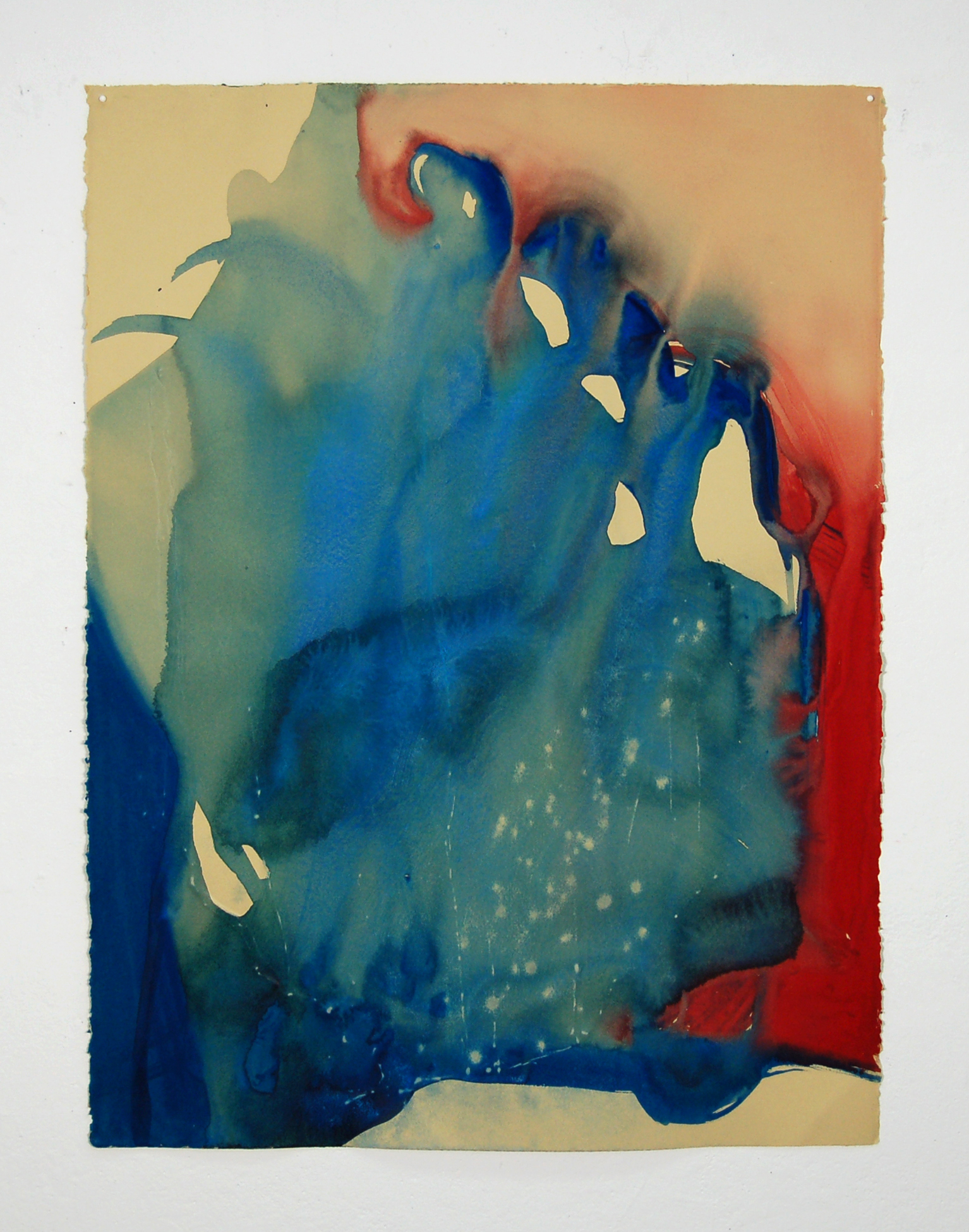 "Astri Snodgrass, ""Spilling light, spilling air,"" 30 x 22 inches, watercolor on embossed paper"
