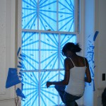 blue tape drawings, Woods Hall, Stephen Watson's class