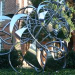Fibonacci Spiral, Lindsay Jones Lindsey, BA 2012, one the latest additions to the Woods Quad Sculpture Garden