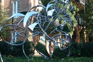 Fibonacci Spiral, Lindsay Jones Lindsey, BA 2012, one the latest additions to the Woods Quad Sculpture Garden