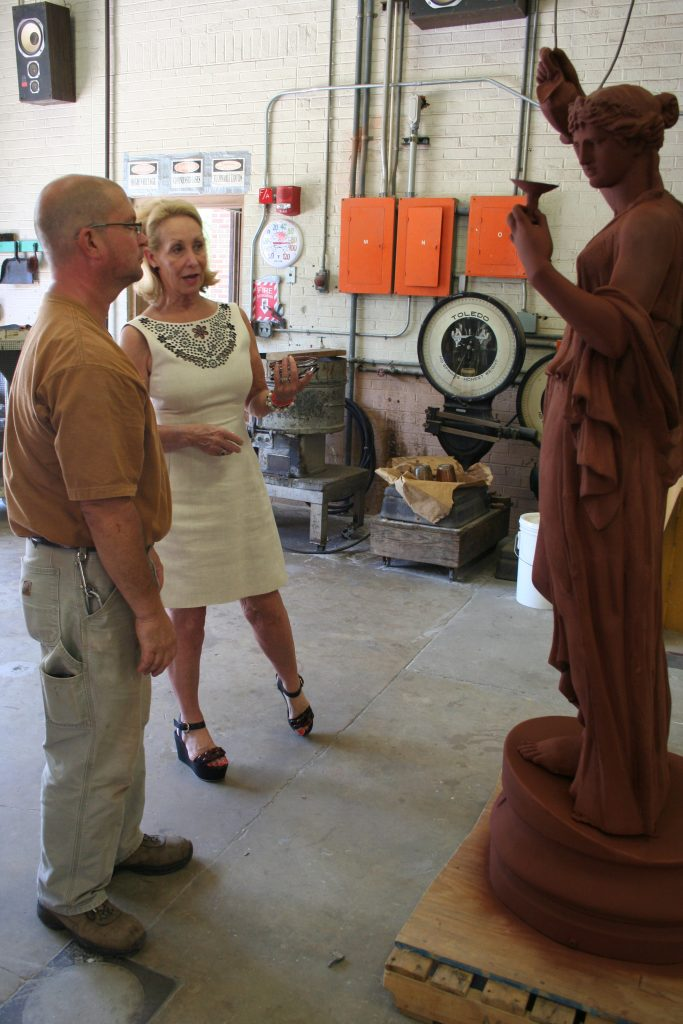 Sculpture professor Wedderspoon and UA trustee Mrs. Karen Brooks talk about the repairs to Hebe and other Bryce sculptures.