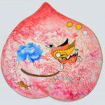 Jiha Moon, Peach Mask II, ink, acrylic, Hanji. Image courtesy of the artist.