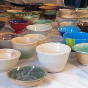 Handmade bowls at Empty Bowls 2015