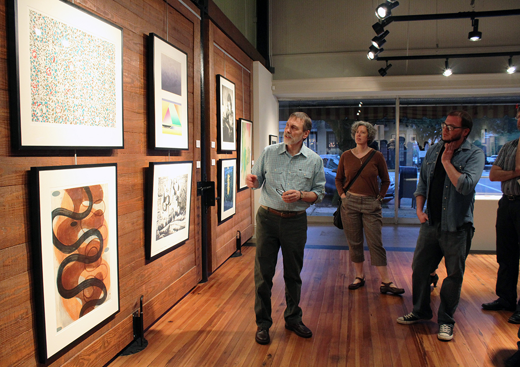 Bill Hall in a gallery talk at the Cultural Arts Center's UA Gallery. hoto courtesy UA College of Arts and Sciences.