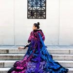 Schoolmate Jennifer Ocampo models a kimono by Ali Hval in April on UA's main quad.