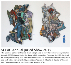 "First Place ""To the Lesser Power,"" Garland Farwell, Sumter County Fine Arts Council Juried winner 2015"