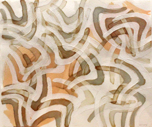 """William Dooley, """"Untitled (Composition with Oxbow)"""" ca. 2008 Pencil, gesso, organic inks on paper"""