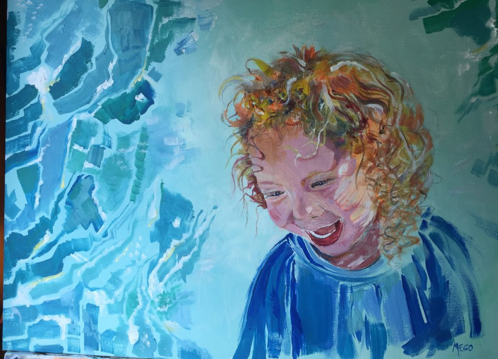 """Janet Mego (UA BFA alumna) painting 4 in """"VALLEYS PEAK, FACES REACH"""" AT THE JUNIOR LEAGUE GALLERY"""