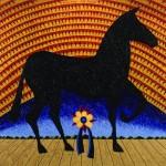 "Russ Warren (American, b. 1951), ""Fino Fino Por Favor,"" 1991, Acrylic on canvas, 60 x 72 ½ inches, Image courtesy of Les Yeux du Monde, Charlottesville."