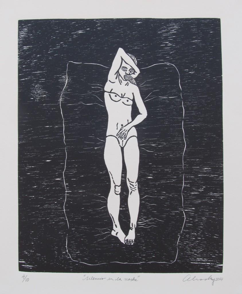"""Aliosky García Sosa, """"Silencio en la noche,"""" 2014, xilografía (woodcut)."""