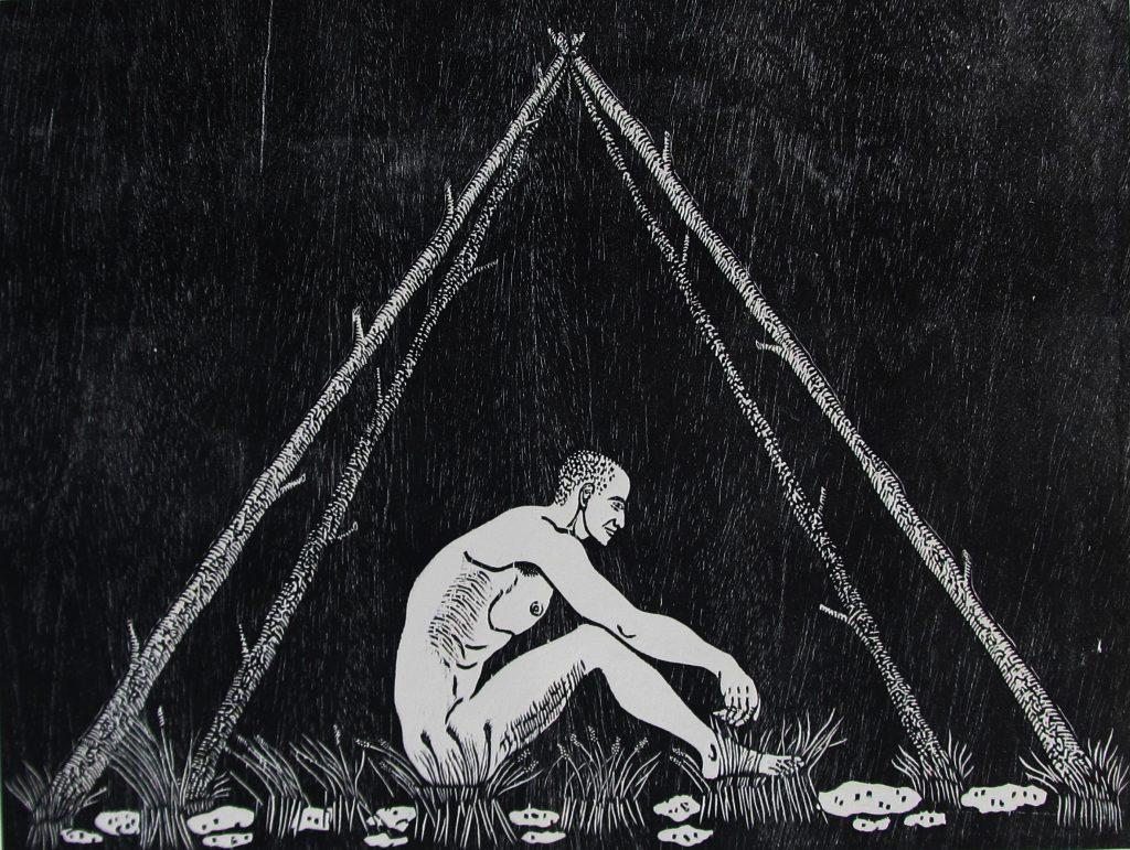 """Aliosky García Sosa, """"Solo tengo lo que soy,"""" 2013, Xilografía (woodcut), 60 X 80 cm."""