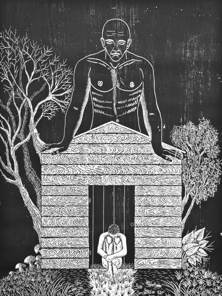 """Aliosky García Sosa, """"Tu propio cielo,"""" 2014 Xilografía (woodcut), 79 X 59 cm."""