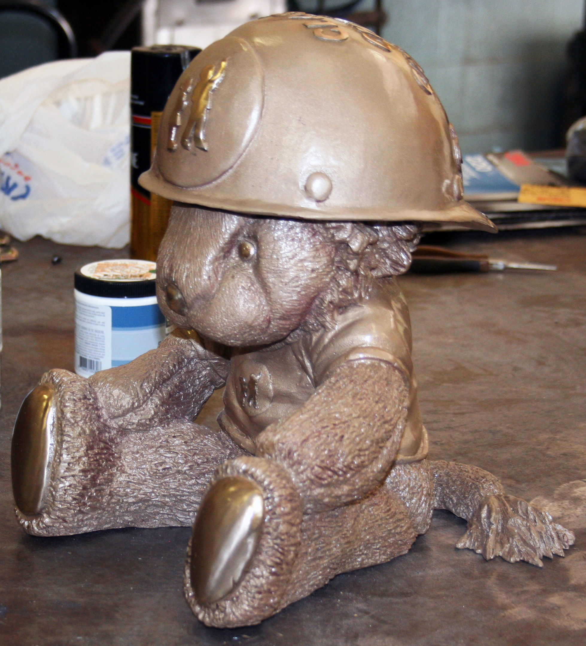 Craig Wedderspoon's Simon the Lion is almost ready for the Nucor Children's charity auction.