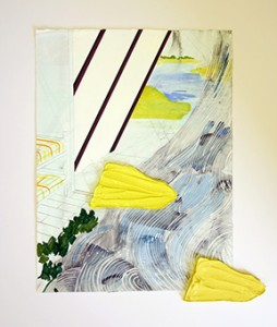 """Bryce Speed, """"Yellow Bark,"""" oil, pencil, and acrylic on paper, 24 x 27 inches."""