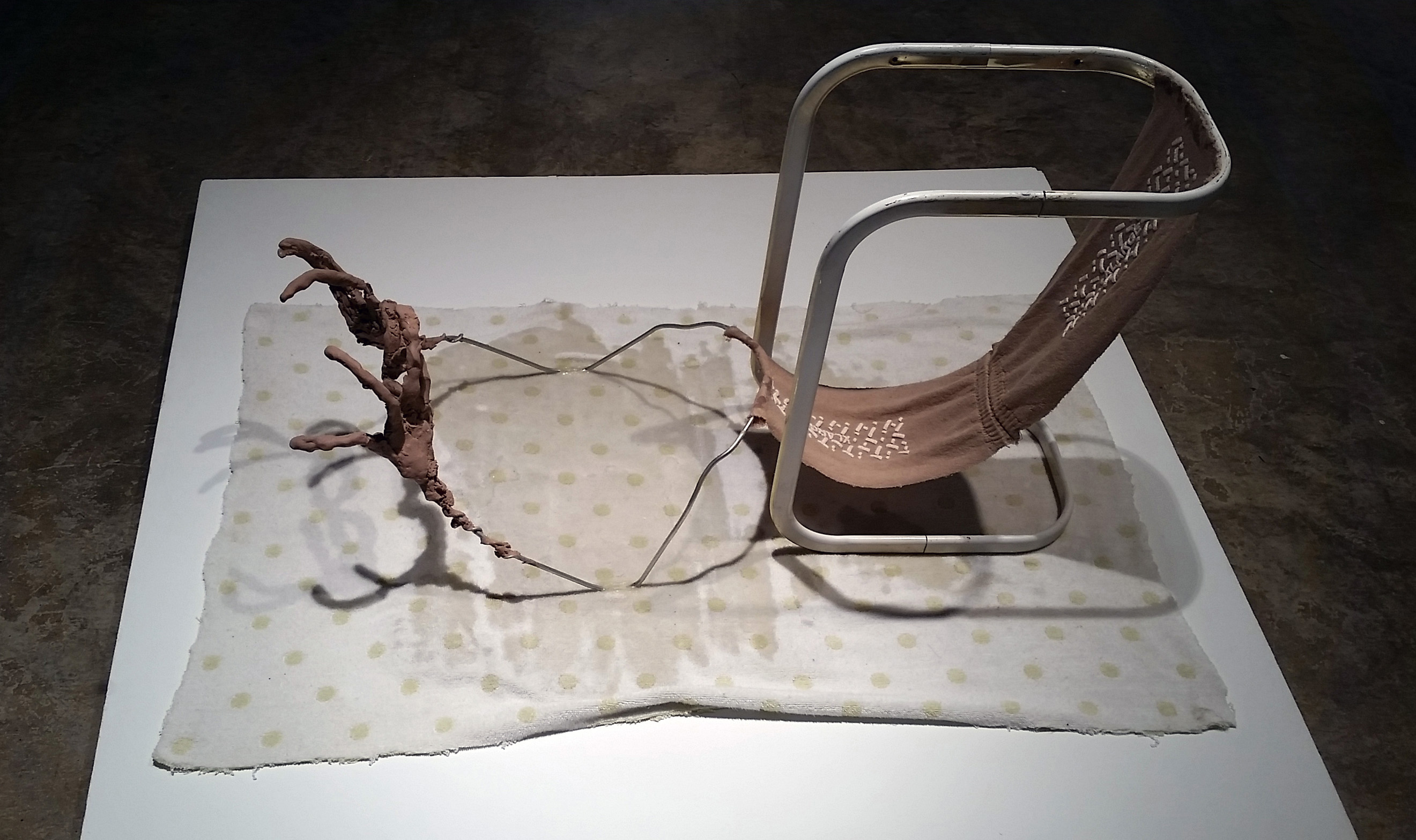 "April Bachtel, ""Okay to Pray,"" stand base, wire, plastic, acrylic, n.d. Instructors & 2-Yr Grad Students Showcase, Sella-Granata Art Gallery, Aug 24 - Sept. 17, 2015"